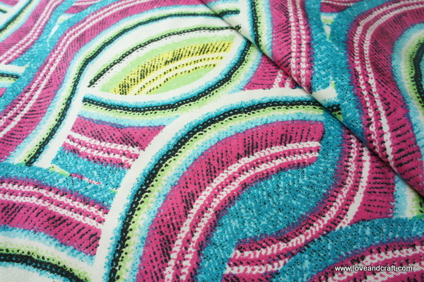 F188 240720 Knit Fabric Colourful Prints And Lotus Flower Theme